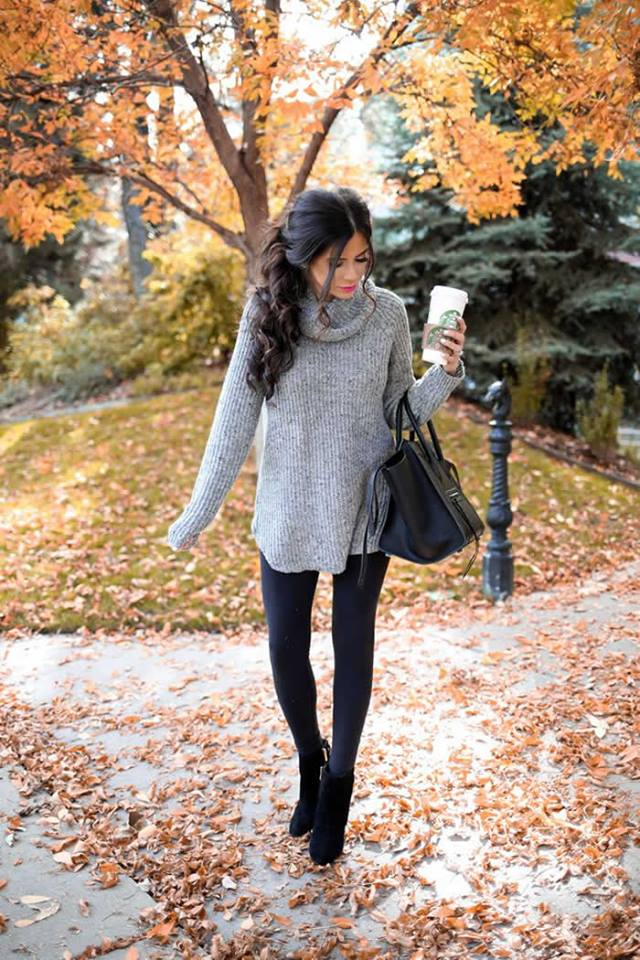 Turtle Neck Grey Sweater With Jegging, Ankle Shoes And Handbag