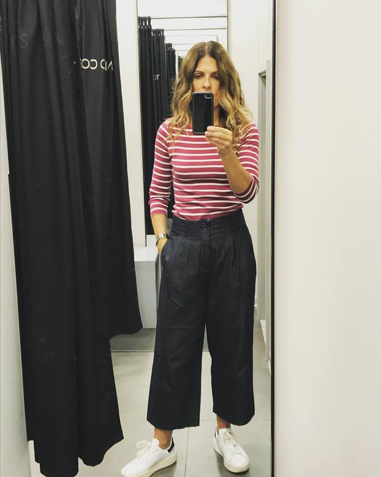 Ultimate Cropped Denim Flare Pant With Striped Full Sleeve Top