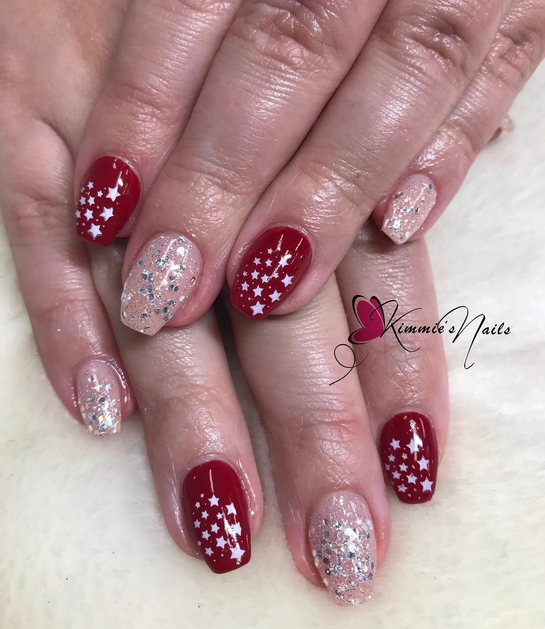 Ultimate Red Glitter Nails With Beautiful Stars