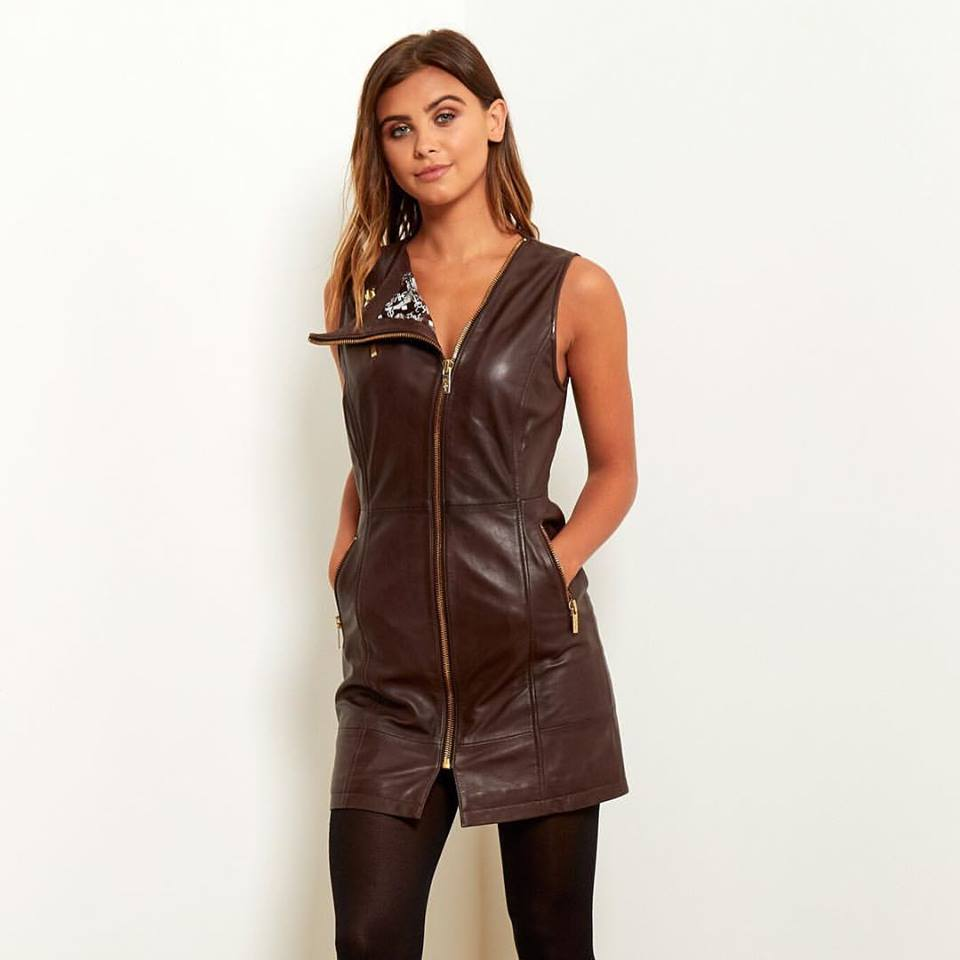 Umber Leather Dress With Stockings