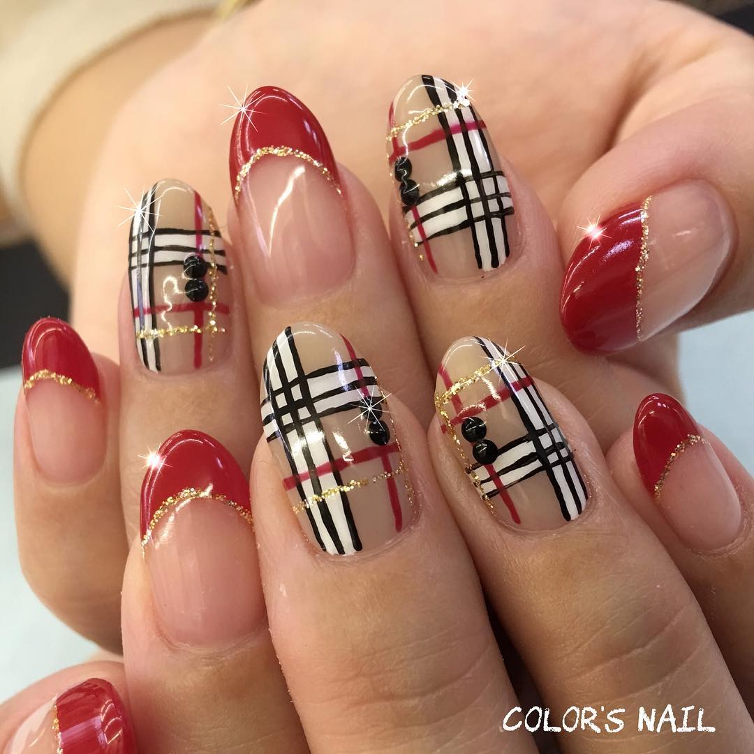 Unique Red French Nails With Plaid Design