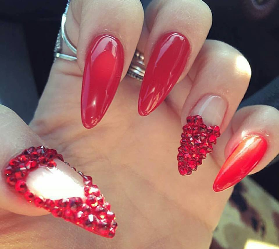 Unique Red Nails Designed With Swarovski Crystal