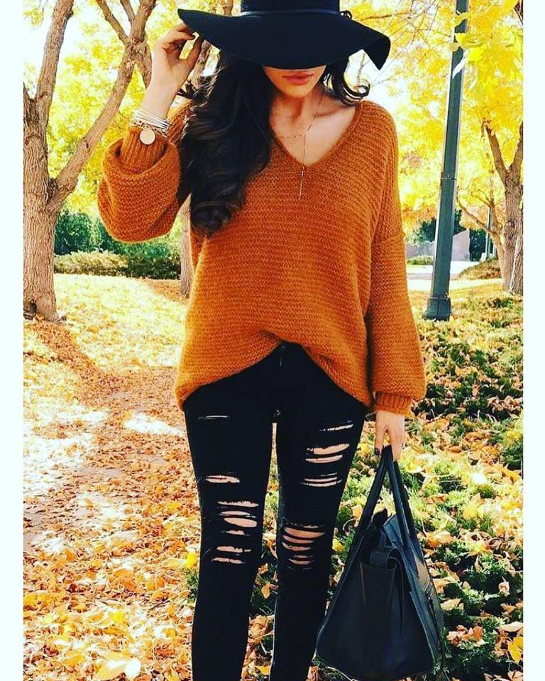 V-Neck Handmade Knitted Sweater With Black Ripped Jeans And Hat