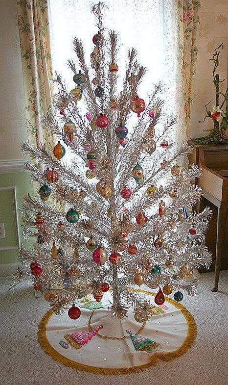 Vintage Style White Christmas Tree Decorated With Colorful Ornaments