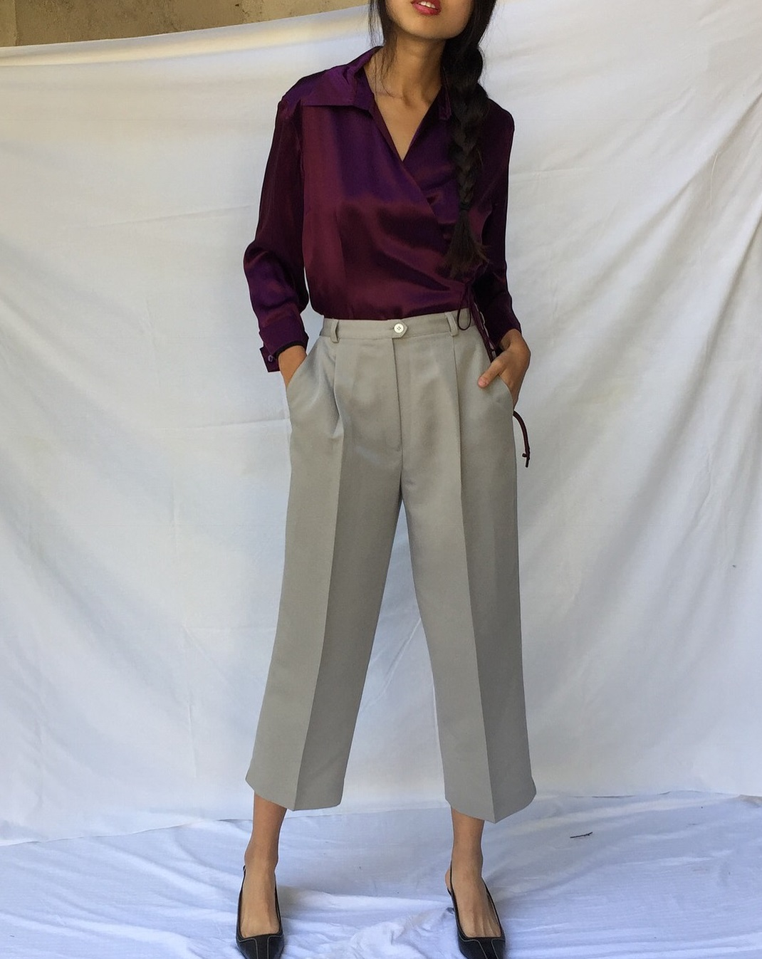 Vintage Taupe Cropped High Waist Pleated Rayon Blend Trousers with Maroon Satin Full Sleeves Wrap Top