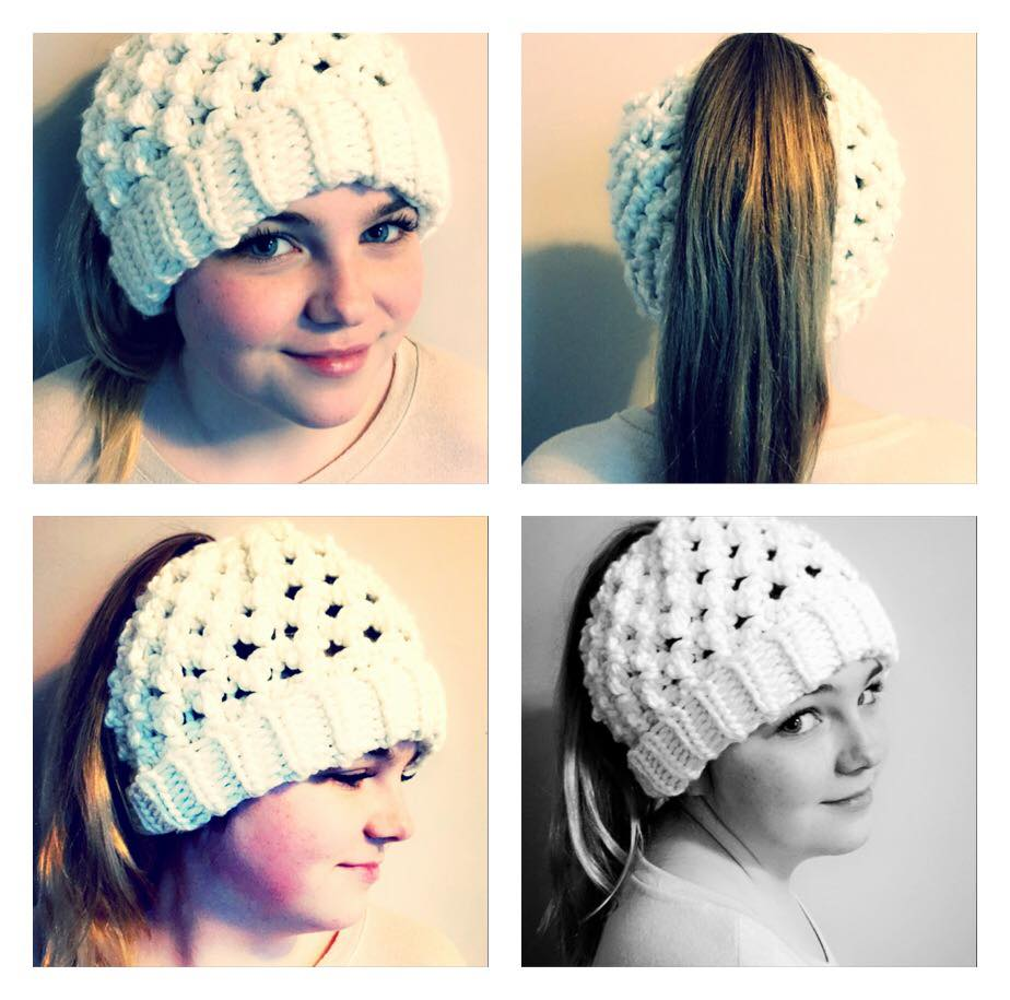 White Cap Design For Ponytail