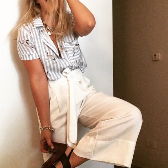 White Cropped Pant, Striped Shirt and Necklace