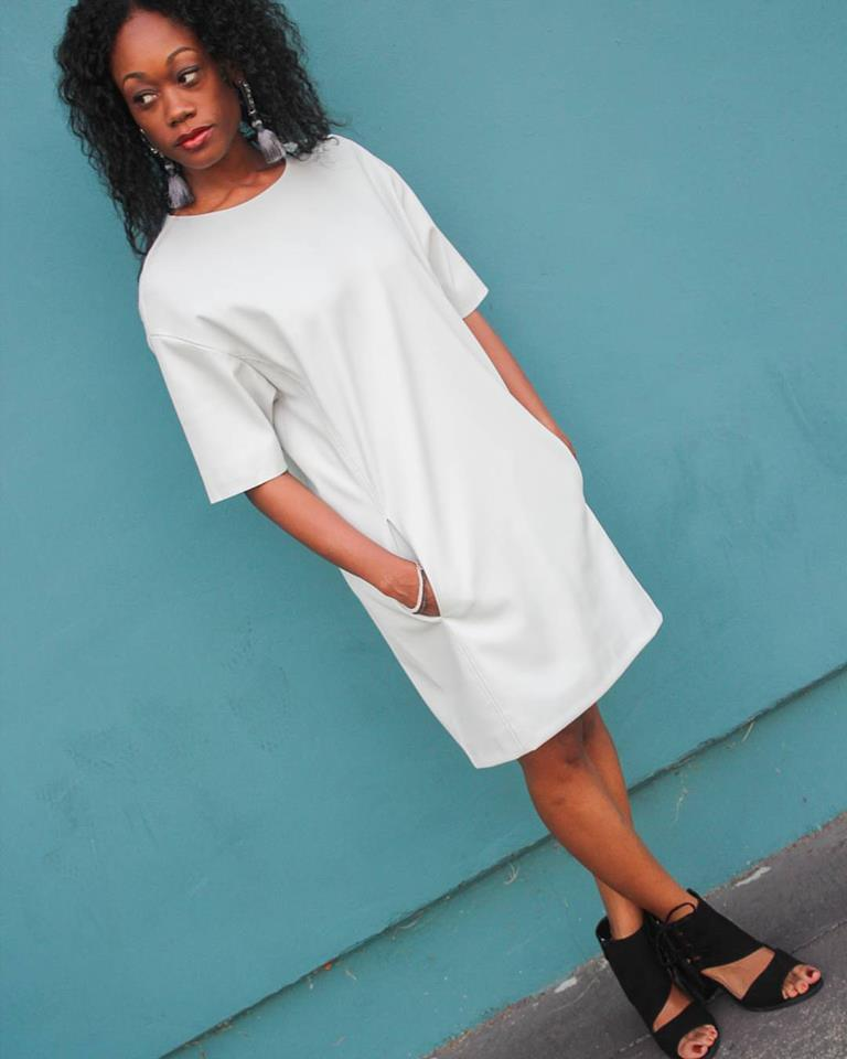 White Leather Dress For Casual Wear