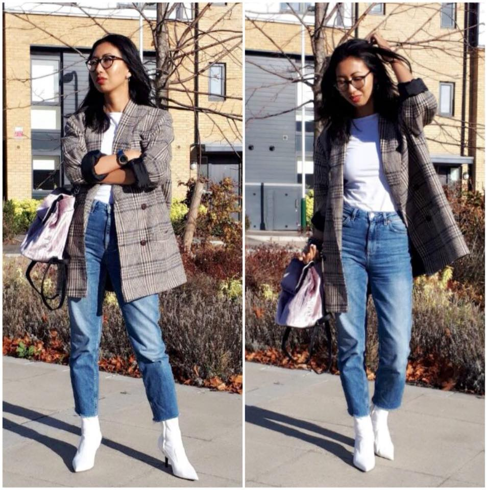 White Top With High Waist Jeans, White Booties And Grey Plaid Coat