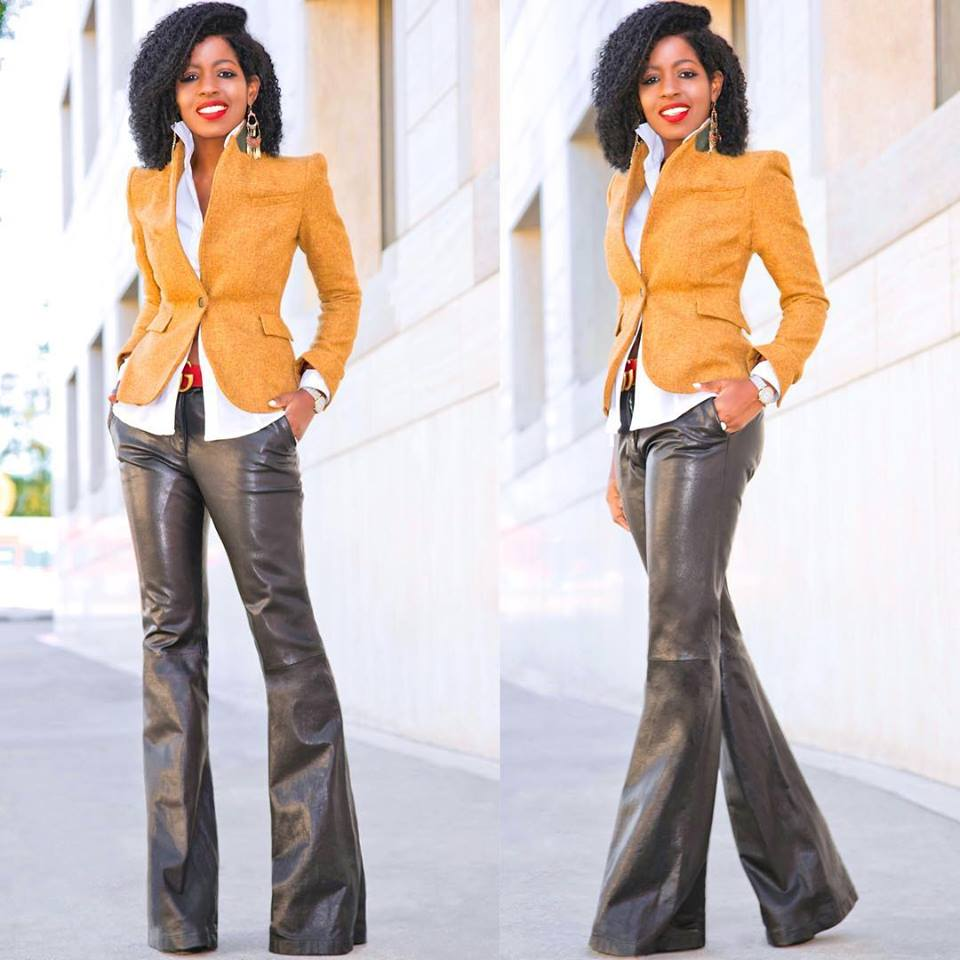 Wide Leg Leather Trouser With Elbow Patch Blazer And Button Down Shirt