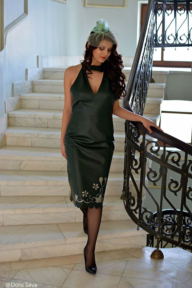 Wonderful Cal Poly Pomona Green Leather Dress