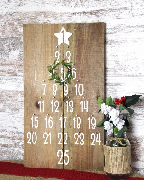Wooden board with numbers ar tree. Pic by lifeexpressionsdecor
