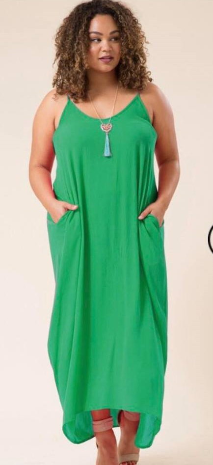 Adorable Green Maxi Dress For Plus Size