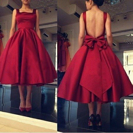 Adorably Stunning Backless Red Dress With Bow On Back