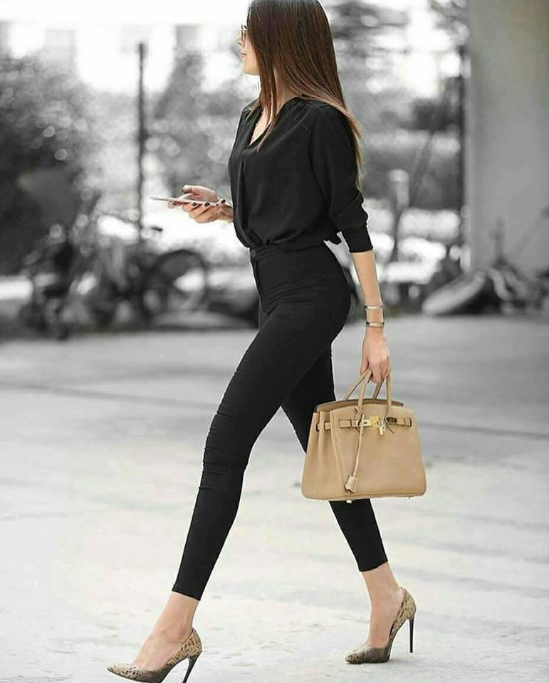 All Black With Leopard Heels And Handbag