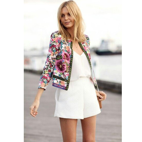 Amazing White Romper Paired With Floral Jacket