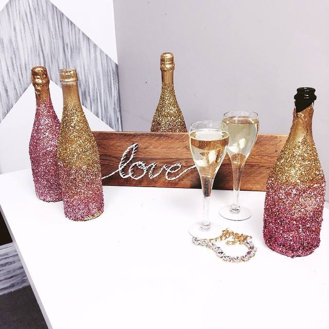 Amazingly Decorated Wine Bottles And Wooden Board