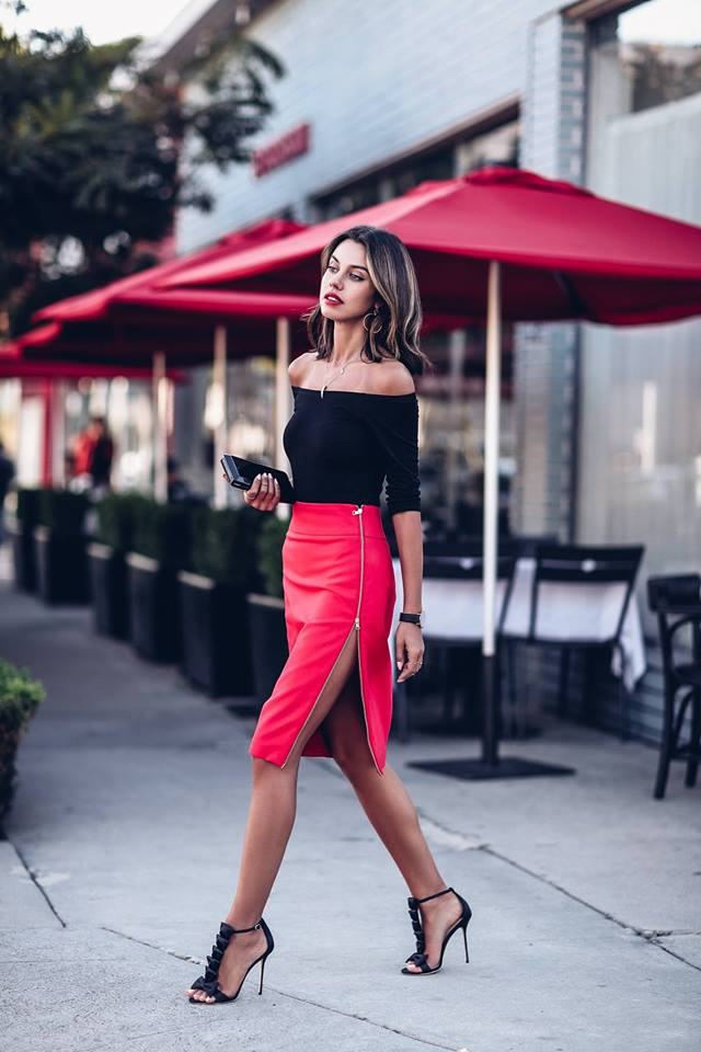 Attractive Black Off The Shoulder Top With Red Leather Skirt With Side Zip With Black Heels