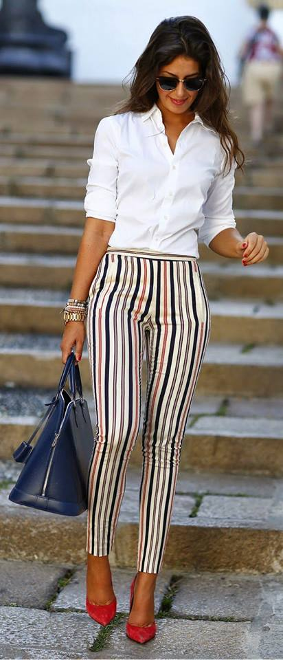 Awesome Stripes Trouser With Off White Button Down Shirt