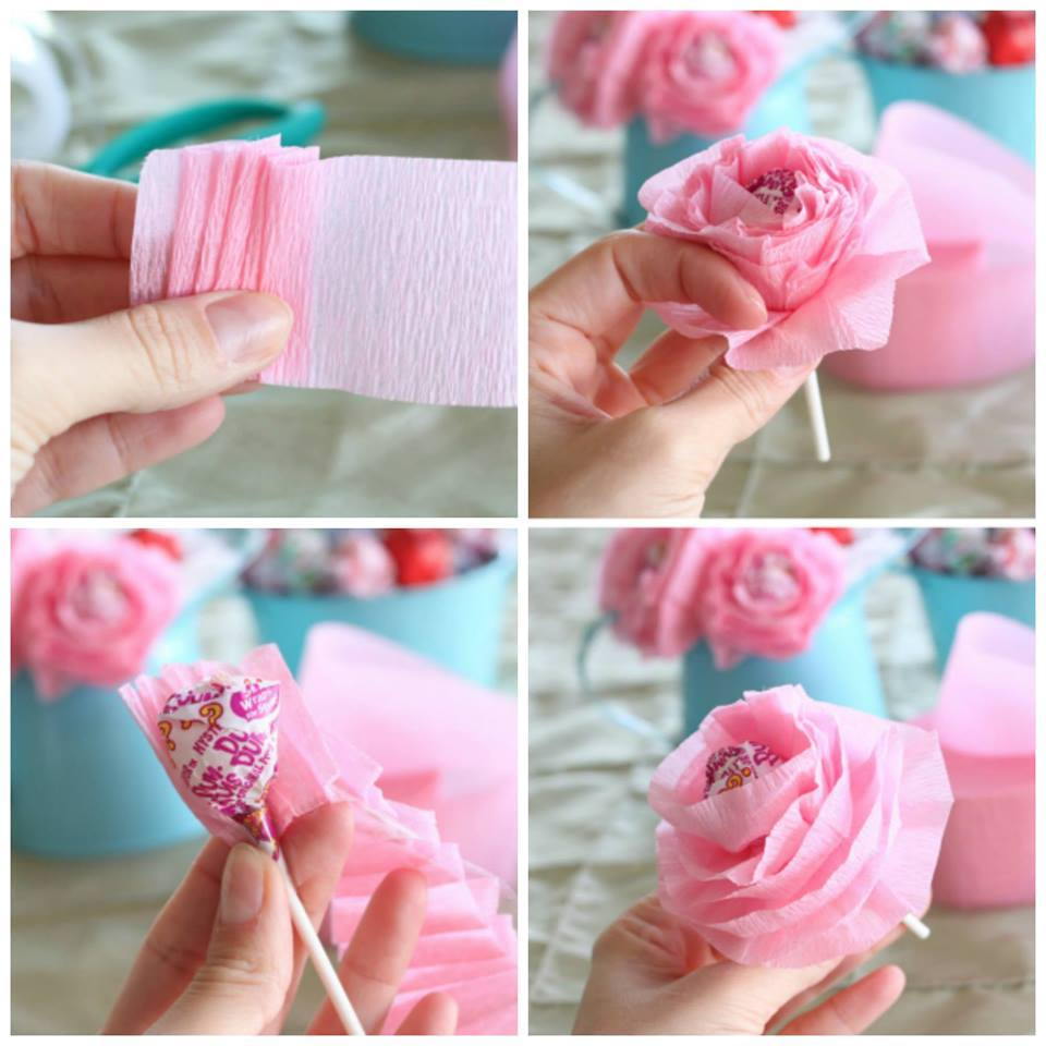 Baby Pink Lollipop Paper Flowers For Valentine's Day