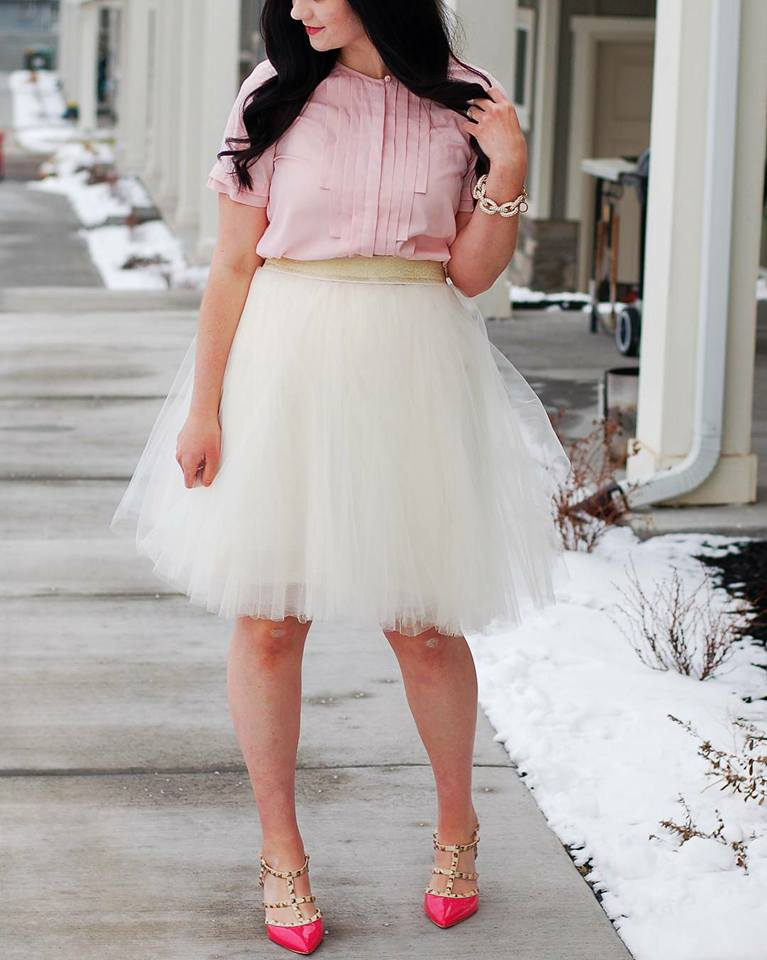 Baby Pink Top With White Net Mini Skirt And Pink Pumps