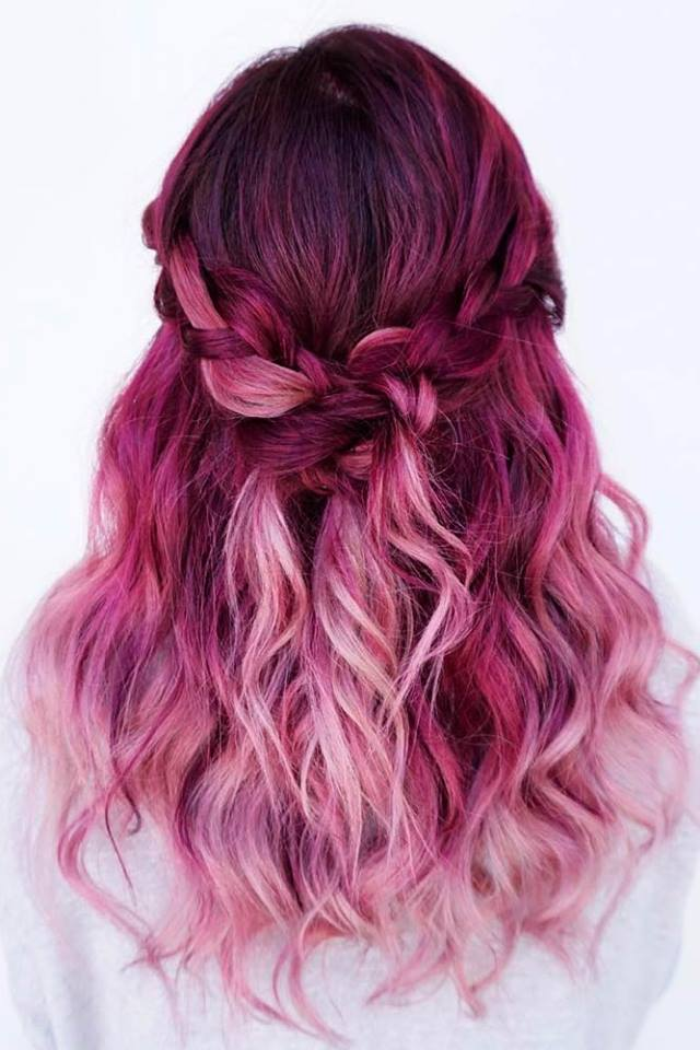 Beautiful Magenta Hair With Twisted Braid