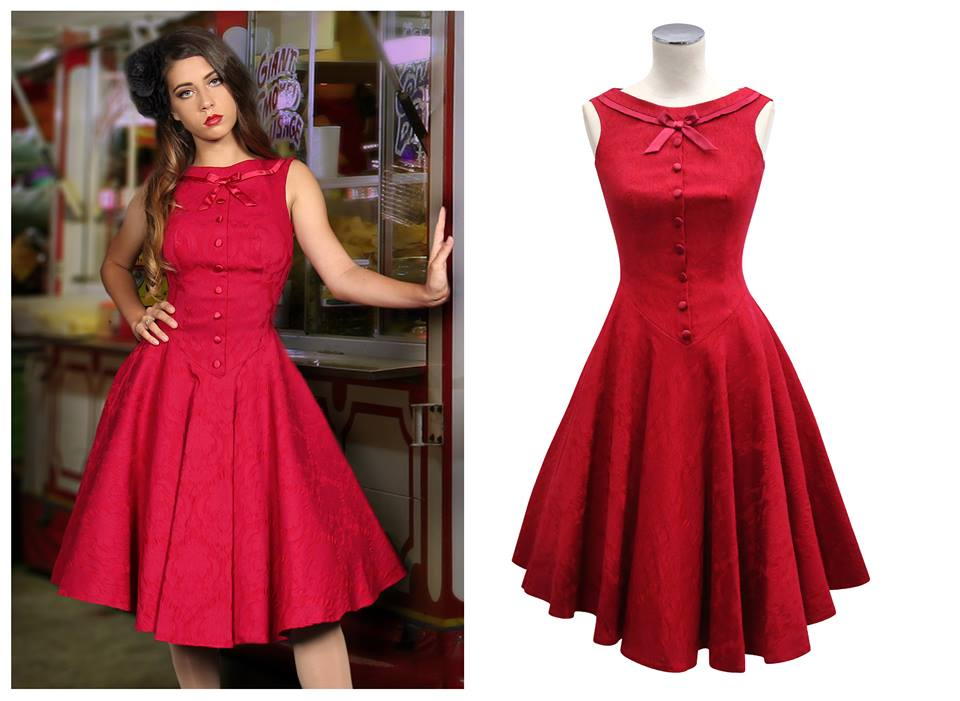 Beautiful Red Dress With Buttons And Bow On Neck