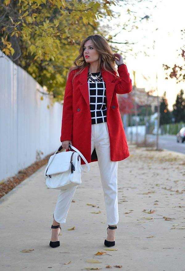 Black Check Top With White Trouser, Red Coat And White Hand Bag