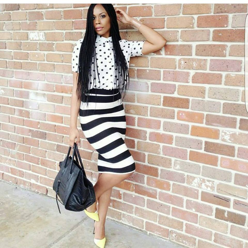 Black & White Polka Dots Shirt With Stripes Bottom