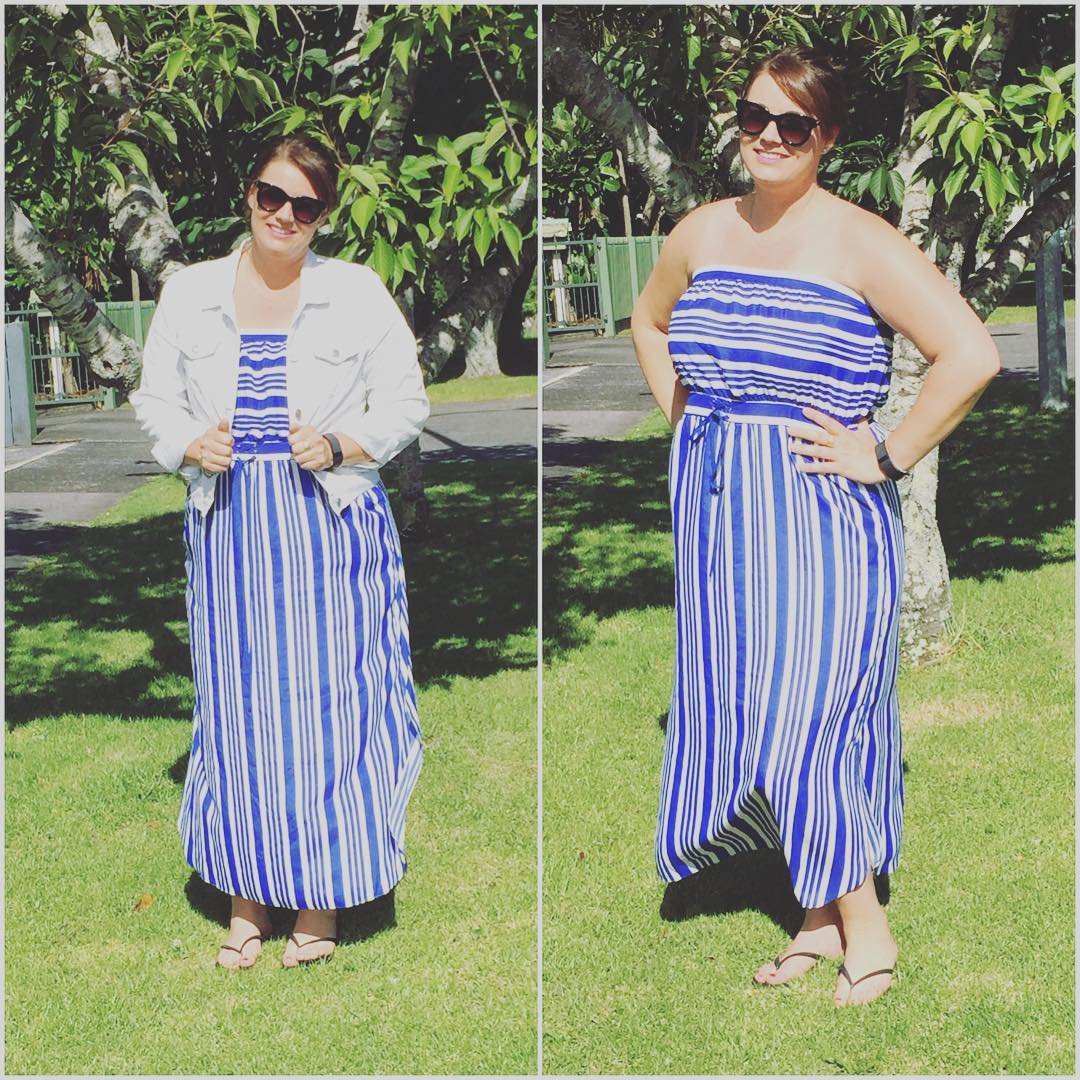 Blue Off Shoulder Stripe Summer Outfit