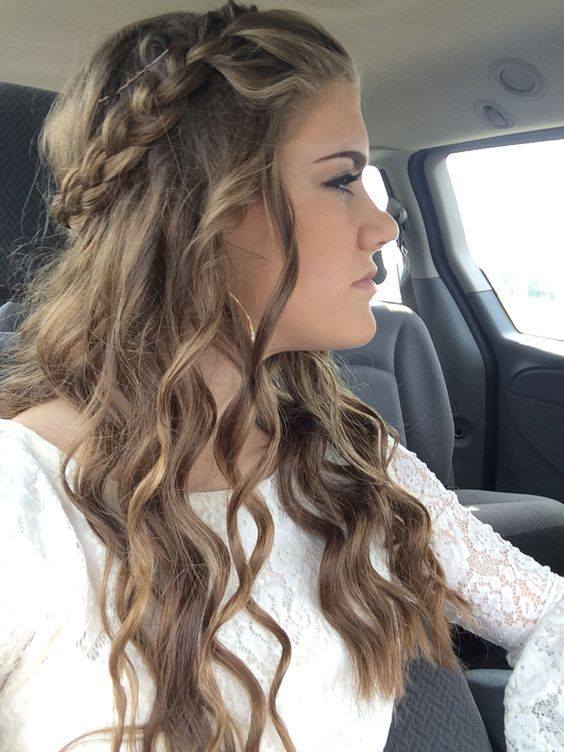 Braided Crown Hairstyle With Curls For Valentine's Day