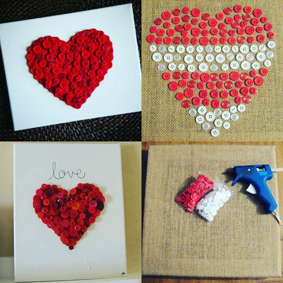 Button Canvas In Shape Of Heart