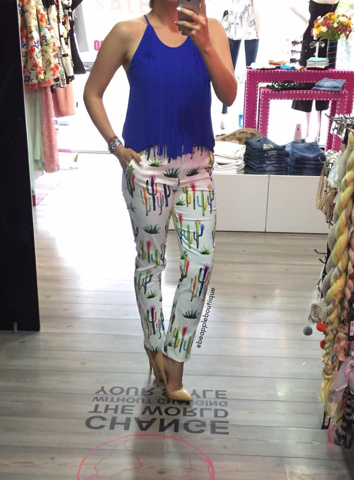 Cactus Print Crop Pant With Blue Spaghetti Top
