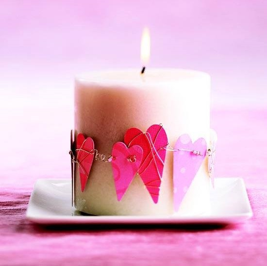 Candle Is Decorated Beautifully With Hearts