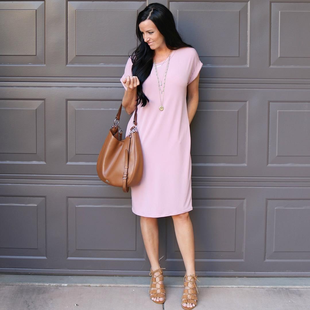 Charming Baby Pink Tee Length Dress With Leather Handbag