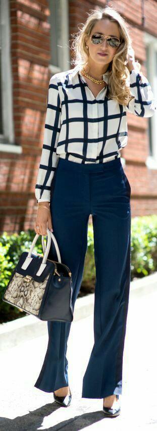 Check Chiffon Shirt With Loose Bottom Pant And Handbag