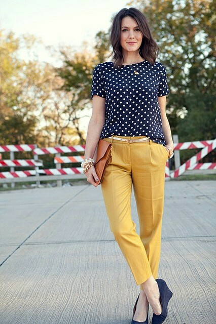 Chic Polka dots Top Paired With Mustard Yellow Crop Pant
