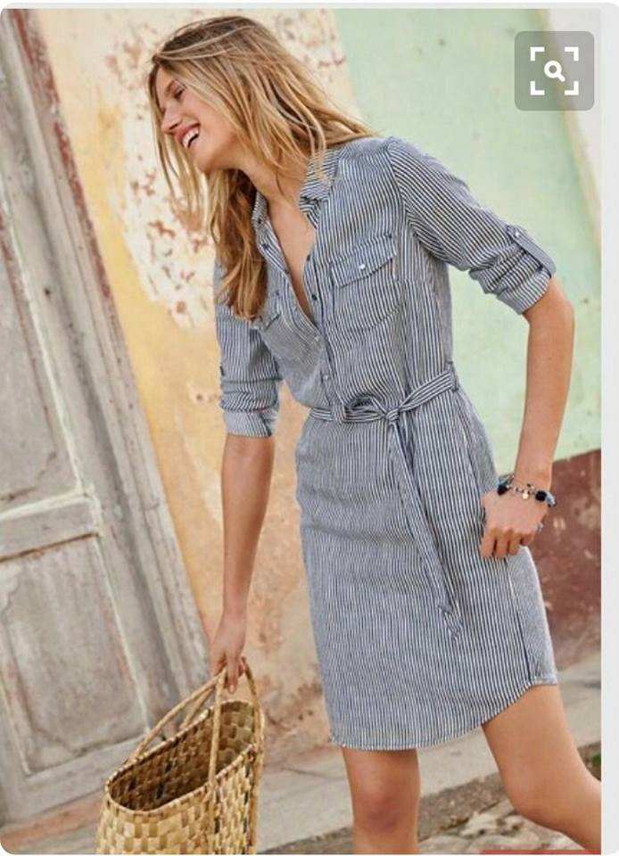 Chic Stripes Dress With Straw Basket