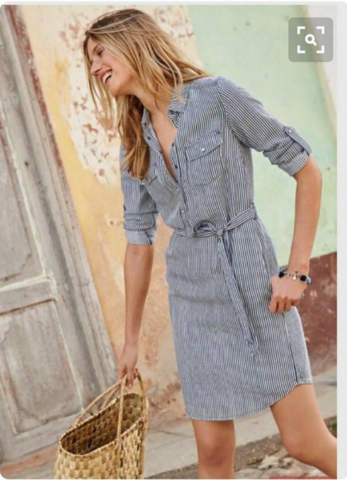 Chic Stripes Dress With Straw Basket