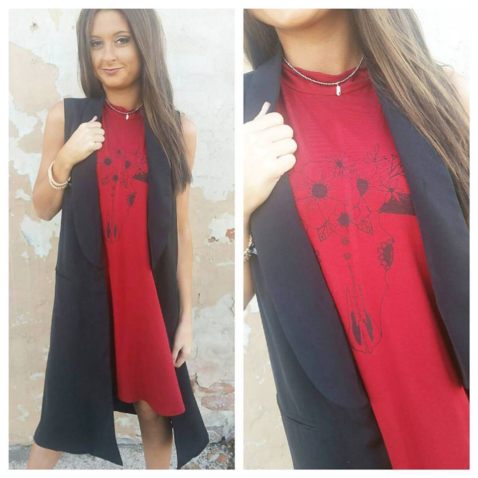 Cool Red Cow Skull Dress With Black Vest Blazer