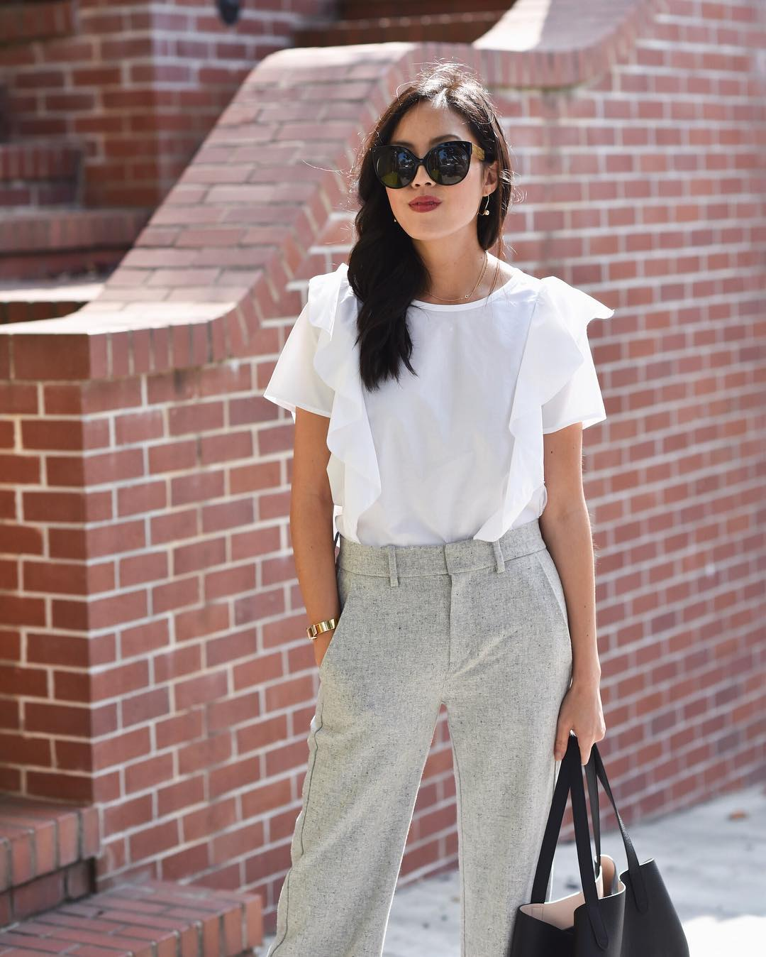 Crisp White Shirt With Ruffles Paired With High Waist Pant