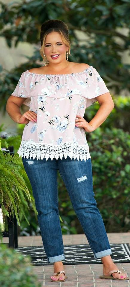 Dashing Floral Off Shoulder Top With Ripped Jeans