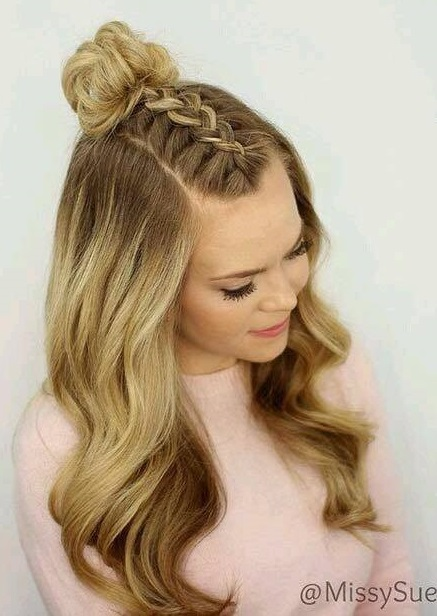 Dashing Front French Braid With Half Bun