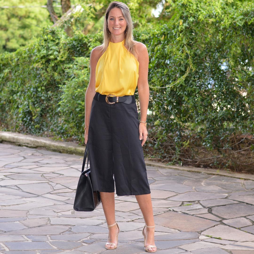 Dashing Yellow Halter Neck Top With Capri Pant