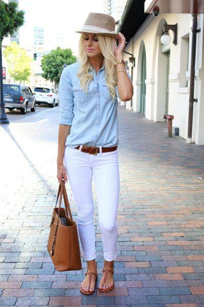 Denim Button Down Shirt With White Pant And Leather Bag