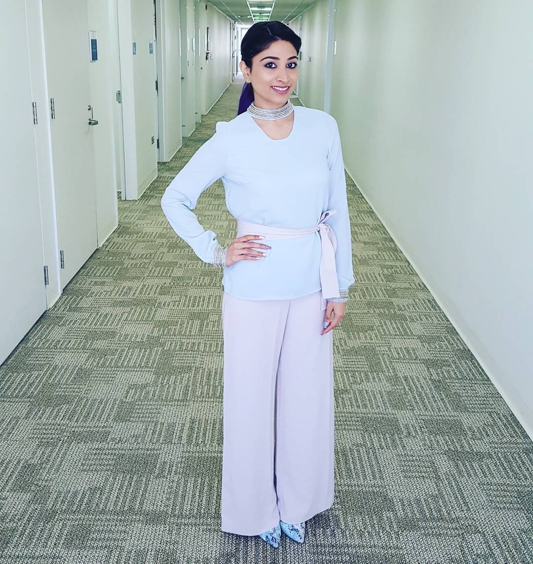 Embellished Choker Neck Top With Light Grey Wide Leg Pant