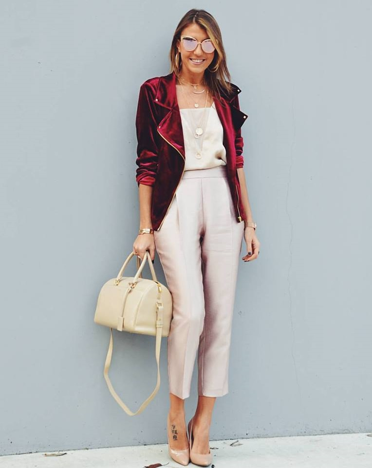 Fabulous Pink Romper, Maroon Blazer Handbag And Nude Pumps