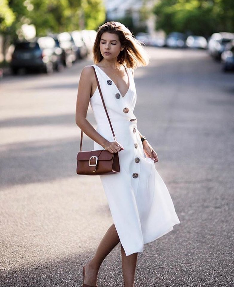 Fabulous White V-Neck Dress