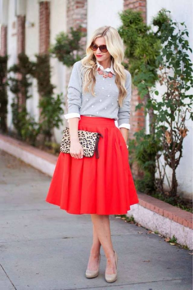 Fantastic Grey Sweater Paired With Red Skirt, Leopard Clutch And Beautiful Necklace