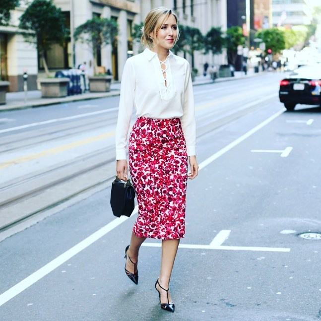 Fashionable White Top With Floral Skirt